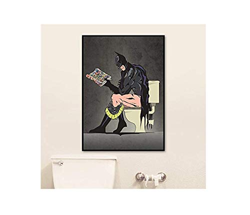 Wand Kunst Leinwand Malerei Humor Superhelden Toilette Batman Superman Poster Und Druck Wand Bilder Toilette Badezimmer Dekoriert 40 X 60cm Ohne Rahmen (Wand-kunst Superman)