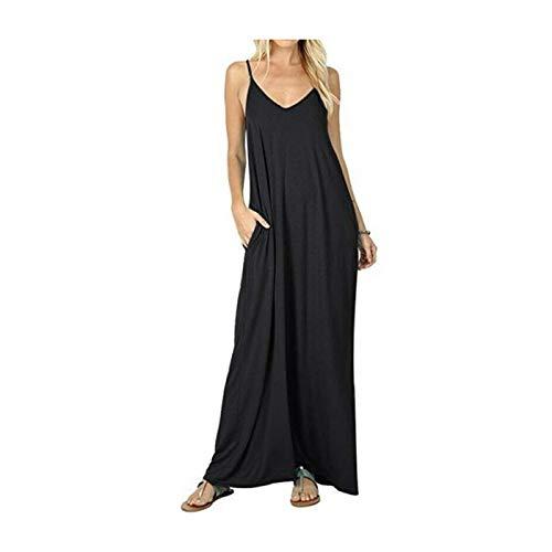GROSIU& Ladies V-Neck Sleeveless Long Maxi Beach Dress Modal Cotton Womens Summer Dress Black US M=Asian XL (Asian Dress Up Ideen)