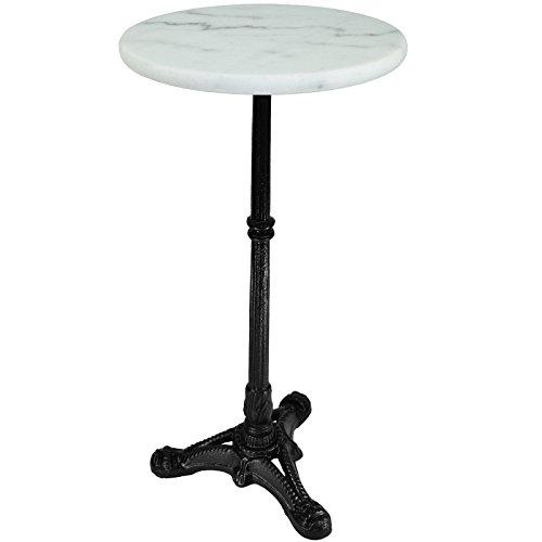 Beistelltisch Blumenhocker Bistrotisch Gartentisch Bistro-Tisch weiß - Marmorplatte - Unikat durch Naturstein - Gestell aus Gusseisen Ø30cm x 60cm