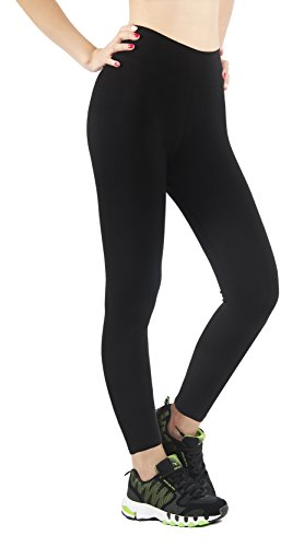 iLoveSIA Leggings Damen Fitness Winter schwarz warm gefüttert Treggings Hosen Basic lang Yoga Sport L