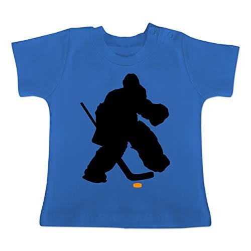 Sport Baby - Eishockeytorwart Towart Eishockey - 3-6 Monate - Royalblau - BZ02 - Baby T-Shirt Kurzarm