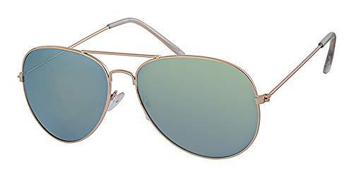 Gold Metall Rahmen Aviator Sonnenbrille, Grün/verspiegelt Objektiv, getöntes, mit gratis gelb Halskordel