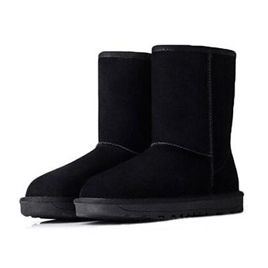 Stivali da donna Comfort Camoscio in pelle scamosciata casuale Khaki Grigio Nero Flat Black
