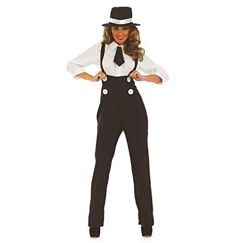 Damen 1920s Nadelstreifen Gangster Hosen Kostüm Kleid Outfit UK 8-30 Übergröße - Schwarz, ()