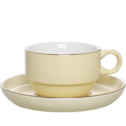 Tasse Unisex Kaffeebecher Tasse Nordic Kaffeetasse Set einfache handbemalte goldene Kaffeetasse mit Löffel Italienische Espressotasse Keramikbecher Umriss in Gold C 150ml