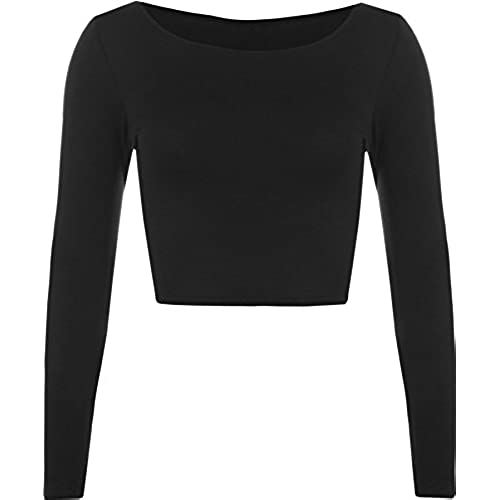 Womens Crop Long Sleeve T Shirt Ladies Short Plain Round Neck Top - Black -  8/10