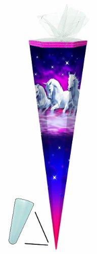 Schultüte - Traumpferde Pferde - 85 cm 6-eckig - mit / ohne Kunststoff Spitze - Tüllabschluß - Zuckertüte - für Mädchen Pferd Traumpferd Schimmel Tiere lila