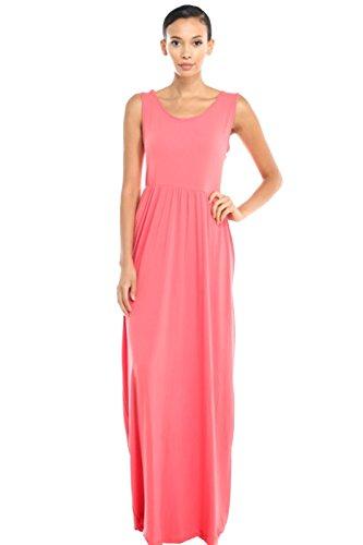 2LUV Damen Kleid Gr. L, korallenrot (Essential Knit Kleid)