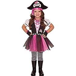 Disfraz de pirata para niña con tutú rosa y negro.
