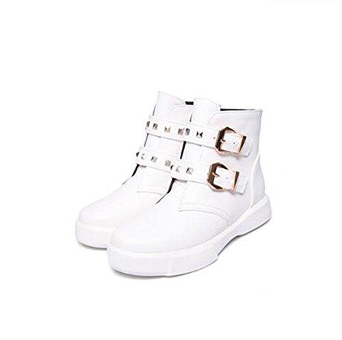 cintura stivali bare una di White corto QXAutunno selvaggio ZQ stivali base piana con e studente Cilindretto Donna fibbia Inverno moda stivali avRqTwg