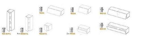 12-teilige modulare Designer Hochglanz Wohnwand Briks I mit großer Farbauswahl - 5