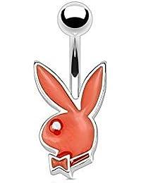 Piercing de ombligo con diseño de conejo de Playboy