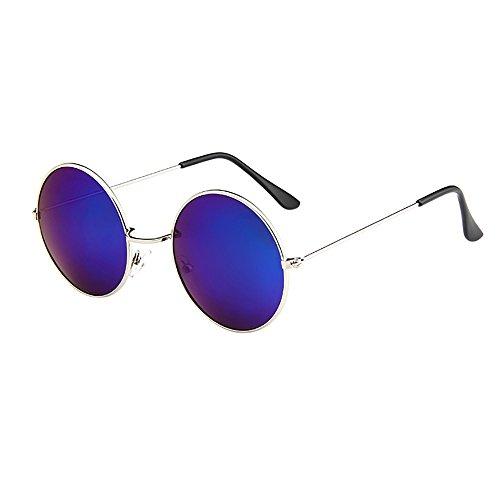KUDICO Unisex Sonnenbrille Retro Round Vintage Polarisierte Linsen Metall Gestell Hippi Brille John Lennon UV400 Outdoor Brillen (C, One Size)