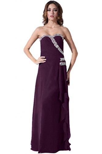 Lemandy Robe de soirée longue mousseline Violet