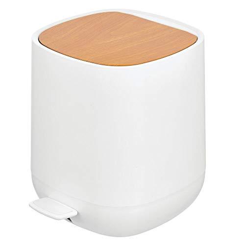 MDesign Cubo de Basura con Pedal de 5 L para baño, Cocina o Dormitorio - Papelera de baño de plástico...