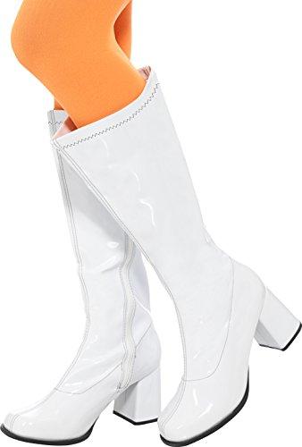 en GoGo Stiefel, 7.6 cm Absatz, Größe: 39.5-40.5, weiß (Weiße Gogo-stiefel Größe 5)