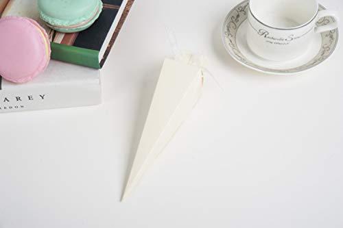 Coni di confetti 50 pz carta matrimonio coriandoli coni carta invito bomboniere fai da te bouquet candy cioccolato scatole regalo per confetti nozze festa regali imballaggio nastro organza (white)