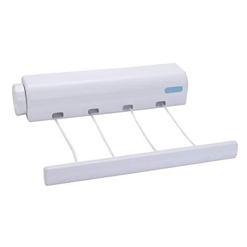Janolia Wäscheleine, einziehbar, automatisches Aufrollen, 4 Leinen, Wäscheleine für drinnen und draußen, platzsparend