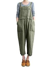f000f57974c Rosennie Fashion Harem Loose Pants for Women Sexy Strappy Striped Backless  Wide Leg Hot Clubwear Rompers Women Floral Print Bohe Bib…