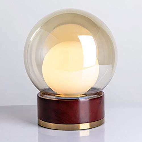 Caveman Dekorationen - CAVEMAN Tischlampe Glas Massivholz Nachttischlampe Kreative