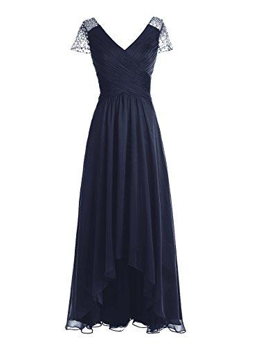Bbonlinedress Robe de cérémonie Robe de demoiselle d'honneur asymétrique col en V longueur ras du sol Marine