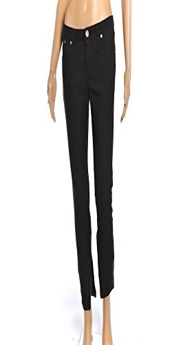 victoria-beckham-size-27-black-leather-panel-ankle-zip-jeans-sk-150