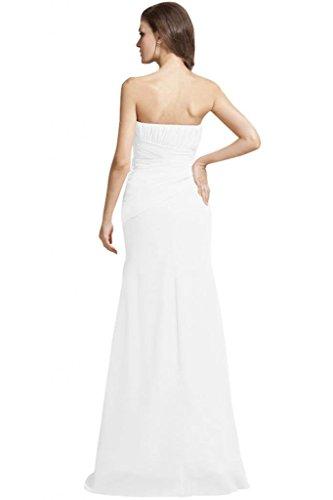 robe de soirée longue mousseline (g) Blanc