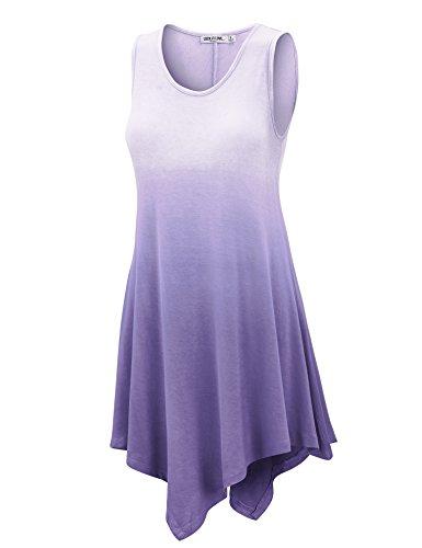 Lock and Love LL Damen Tunika, ärmellos, Boho Tie-Dye Ombre - hergestellt in den USA - Violett - XX-Large - Tie-dye-tunika