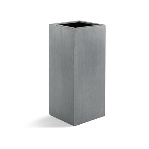 "Pflanzkübel ""Argento High Cube"" Betongrau Eckig Hoch Fiberglas *5 Jahre Garantie* - 35x35x80cm - F1166"