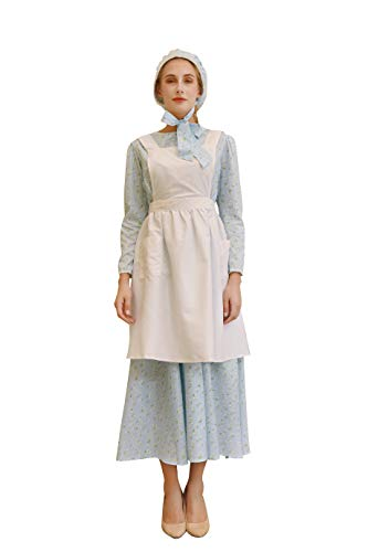 NSPSTT Damen Prairie Fancy Dress Vintage Viktorianischen Colonial Bauer Kostüm mit Mütze & Schürze - Cocktail Fancy Dress Kostüm
