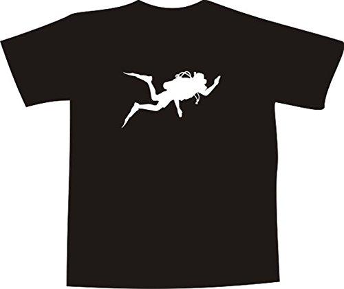 T-Shirt E374 Schönes T-Shirt mit farbigem Brustaufdruck - Logo / Grafik - minimalistisches Design - Silhouette vom Taucher im Meer Weiß