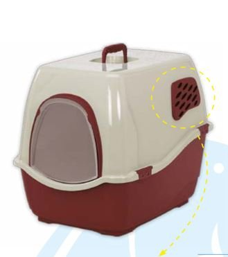 Marchioro Bill 2F Covered Cat Litter Tray with door and Filters (Red)