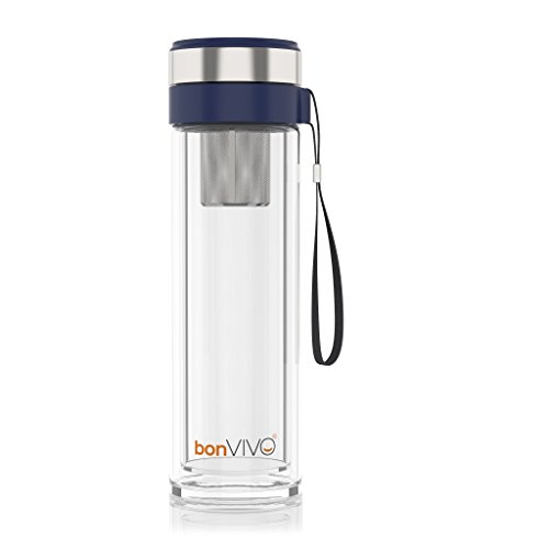 bonVIVO® VitaliTEA Glas-Trinkflasche mit Thermo-Funktion und Tea-Filter, 0,45 Liter, in Blau
