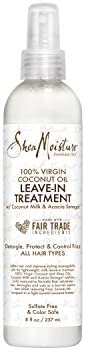 Shea Moisture 100% Virgin Coconut Oil Leave-in Treatment, Shine Curly and Tame Frizz for Tangle-Free Hair, All Natural certi
