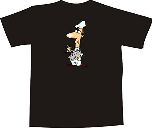 T-Shirt E1263 Schönes T-Shirt mit farbigem Brustaufdruck - Logo / Grafik / Design - Chef Koch in der Küche im Restaurant Schwarz
