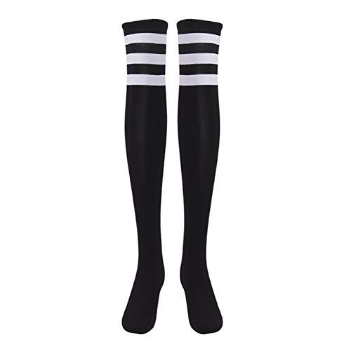 EZSTAX Damen Winter Warme Überknie Strümpfe Baumwollstrümpfe Retro Lange Socken Overknee Sportsocken mit drei Streifen -