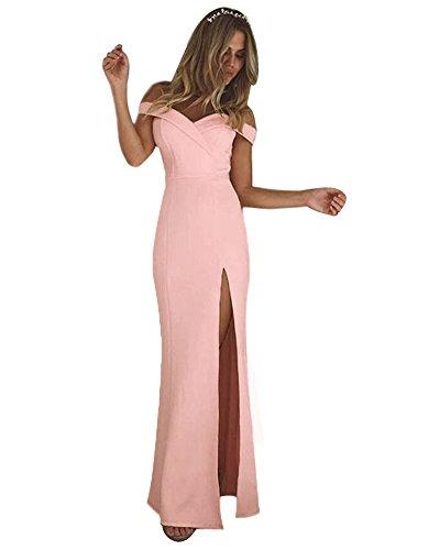 Minetom Damen Elegante V Ausschnitt Schulterfrei Lang Maxi Kleid Einfarbig Split Festlich Hochzeit Abendkleid Cocktailkleid Partykleid Rosa DE 38 (Strand-hochzeit Leinen-hose)