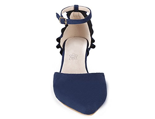 MaxMuxun Damen Pumps Kitten Absatz Pointed Toe Party Braut Abend Pumps Blau Größe 39EU - 3