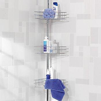 SHOWER BATHROOM CHROME CORNER UNIT WITH 3 TIER SHELF STORAGE