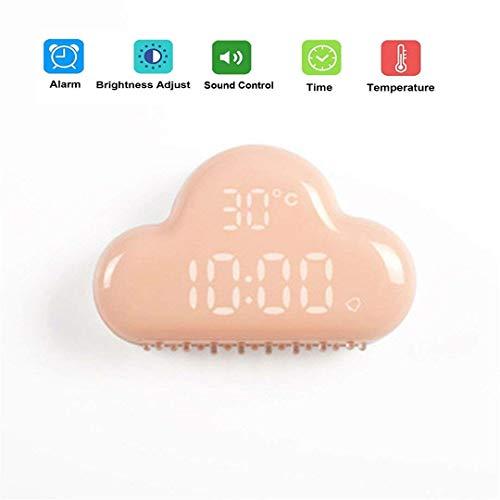 ZEERKEER Reloj Despertador Nube LED Despertador Digital con Control de Voz Inteligente Visualización de la Temperatura Función Snooze Luz Ajustable Carga USB Alarma Despertador (Rosa)