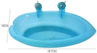 Bird Bath Tub Bowl Basin Hanging Birdbath Toy Pet Parrot Budgie Parakeet Cockatiel Cage Water Shower Food Feeder With Mirror (Blue) by FunMove