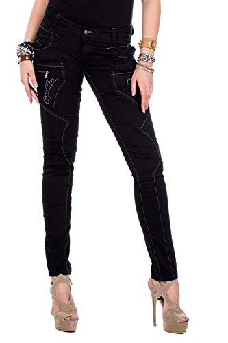CIPO&BAXX Damen Jeans mit Kontrastdetails, Schwarz, 30W / 32L