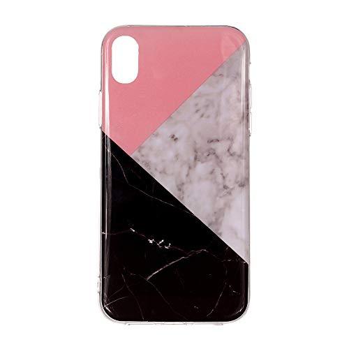 le Multi Muster für iPhone xr max 6,5 Zoll Hülle Weiches TPU Glänzender Marmor mit Muster Cover Hülse mit Bunter Muster Abdeckung CaseSchutzhülle Handyhülle (H) ()