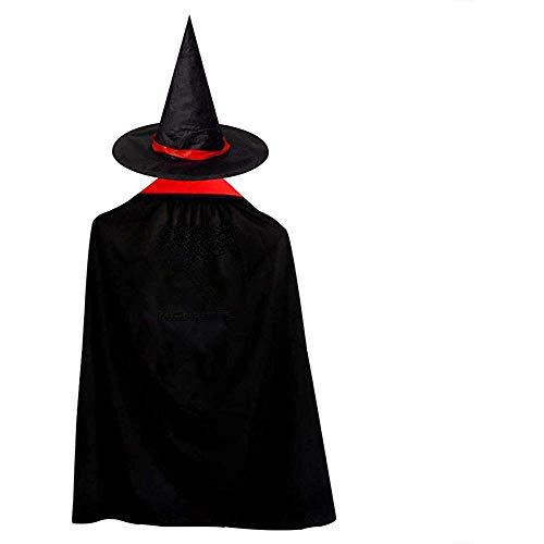 OKME Custom Cape Hexe,Schwarze Musiknoten Storm Witch Wizard Umhang Mit Hut Halloween-Kostüme Für Mädchen Jungen (Storm Kostüm Mädchen)