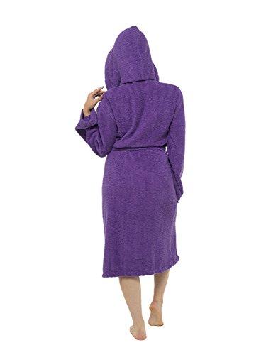 Damen Robe Luxury Frottee 100% Baumwolle Bademantel Bademantel Perfect Weihnachtsgeschenk Deep Purple