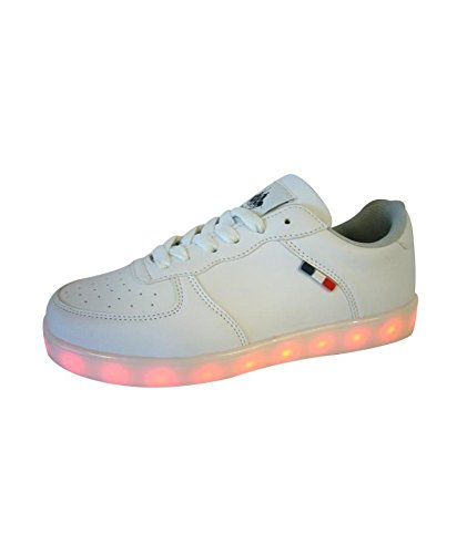 Baskets LED Recharge USB Chaussures Lumineuses Femme 36) Blanc
