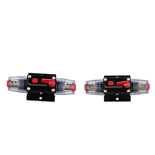 FLAMEER 2pcs 12V-24V Inline Auto eistungsschalte Manuellen Reset Schalter Car Audio Sicherung (Car-audio-sicherungen)