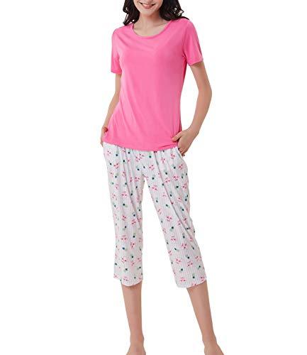Frauen Capri Pyjama Leicht Schlafanzug Set für Sommer Rosa Größe M - Dot Capri Hose Set