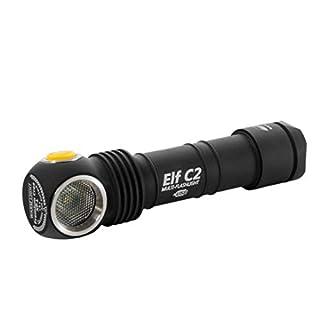 Armytek Elf C2 XP-L (warm) mit 18650 Li-Ion Akku (3200mAH) per Micro-USB aufladbar - Taschenlampe mit Band zur Nutzung als Stirnlampe