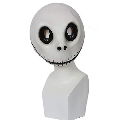 (Mesky Jack Skellington Weihnachten Maske Cosplay Mask Kostüm Zubehör Horror Maske Skelett Latexmaske Vollkopfmaske für Kinder und Erwachsene Leicht One Size Umweltfreundliches Material Harmlos)